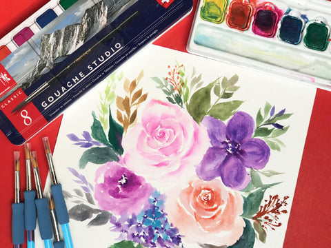 Florals Painting Workshop using the triangle brush