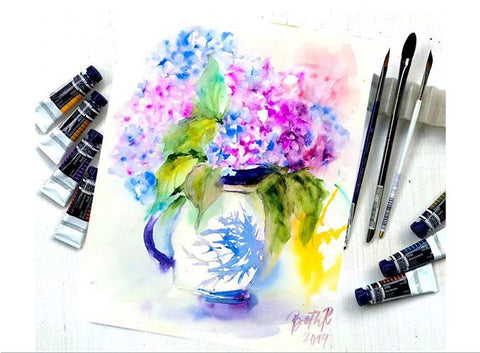 Hydrangeas on Vases: A Floral Watercolor Workshop with Play Crafts