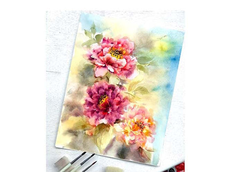 Painting Peonies using the Triangle Brush Workshop by with Play Crafts