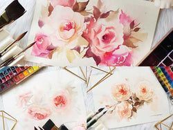 Soft Roses in Watercolors Using a Dagger Brush