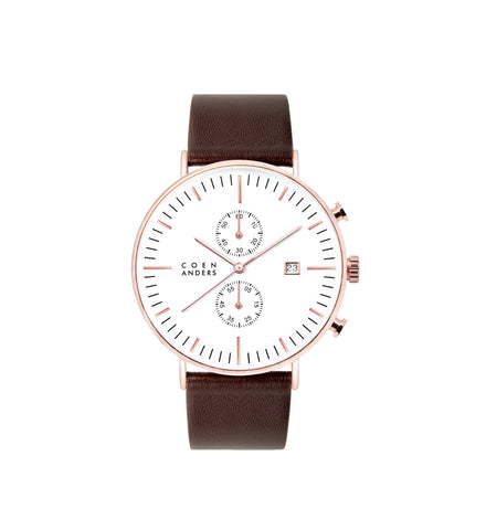 ROSE GOLD WHITE BROWN LEATHER WATCH