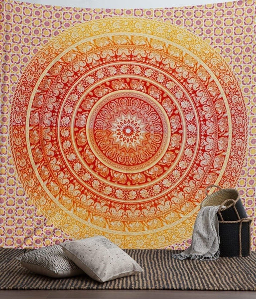 Orange Elephant Ombre Mandala Wall Tapestry