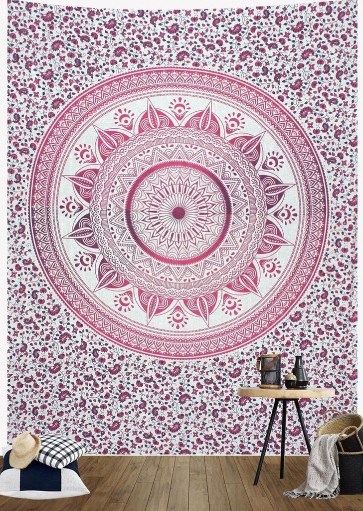 Pink Ombre Mandala Wall Tapestry
