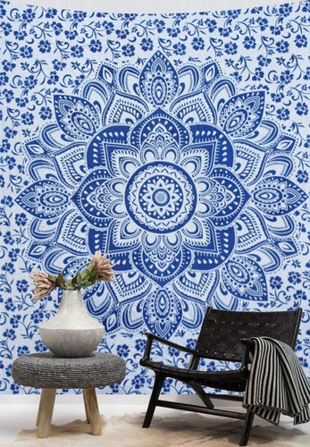 Blue And White Flower Mandala Tapestry