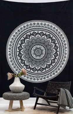 Black And White Hippie Style Mandala Tapestry