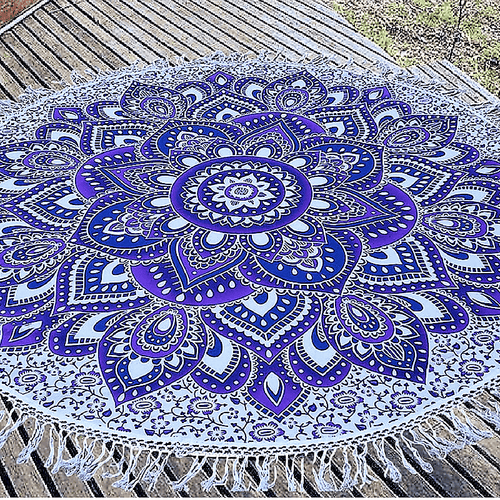 Purple Lotus Roundie Tapestry