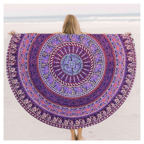 Purple Lady Elephant Roundie Tapestry