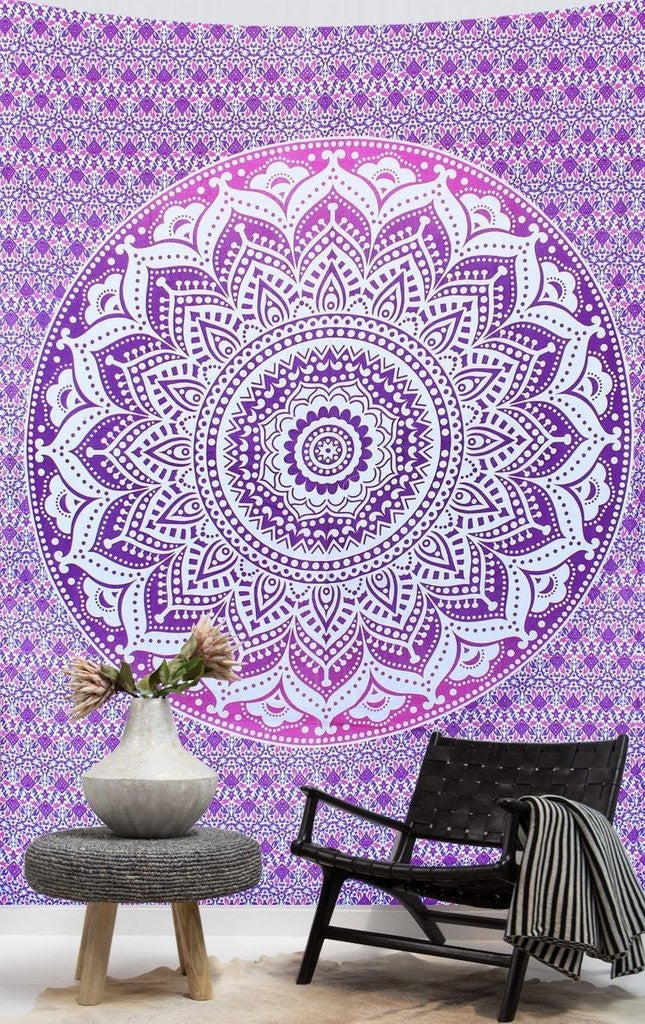 Purple And Blue Mandala Tapestry