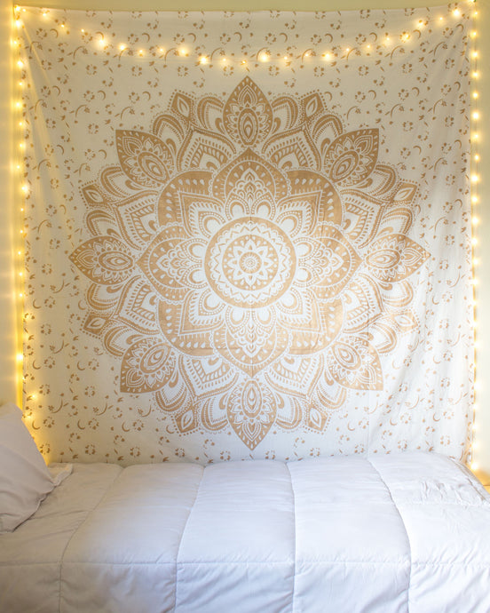 Beautiful Golden Star Mandala Wall Tapestry