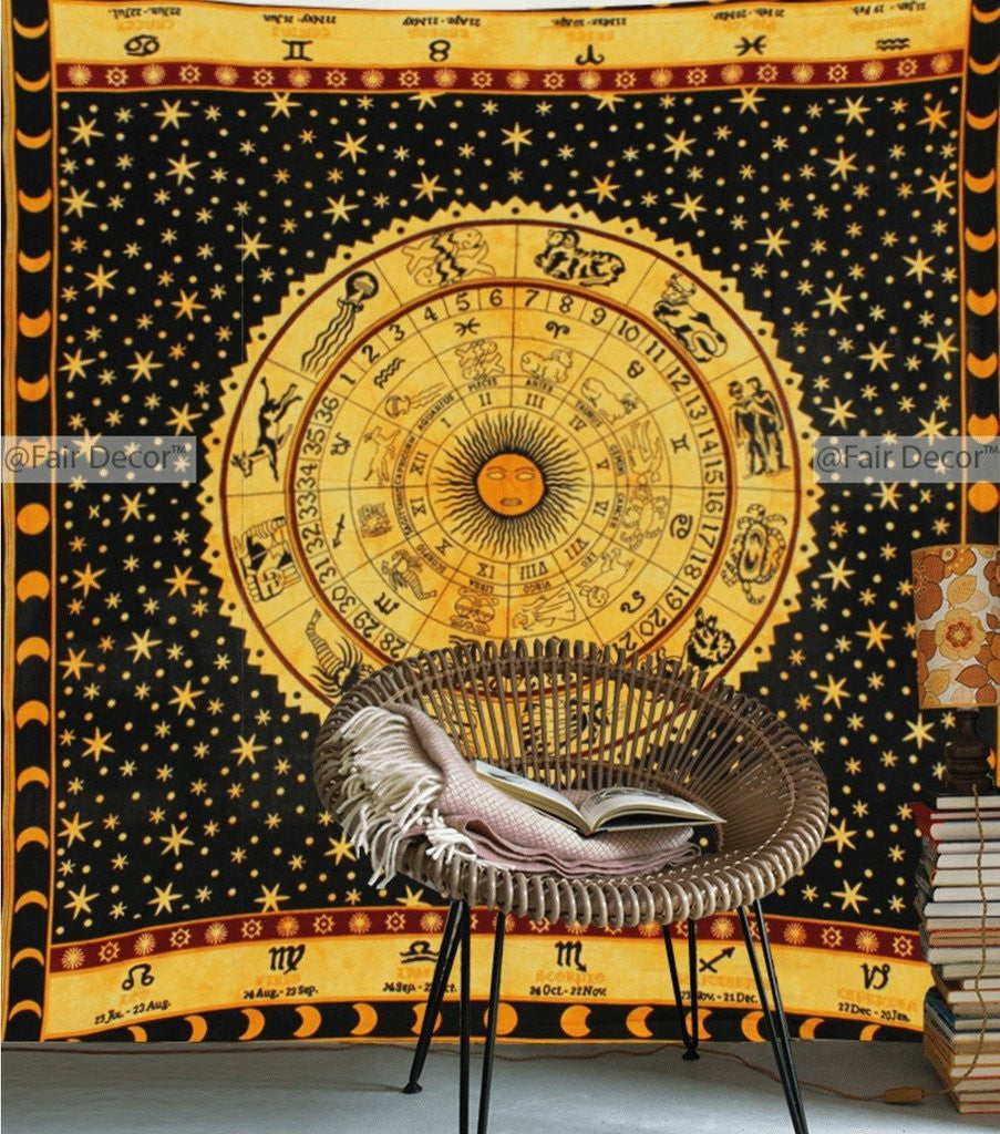 Yellow Zodiac Sign Tapestry