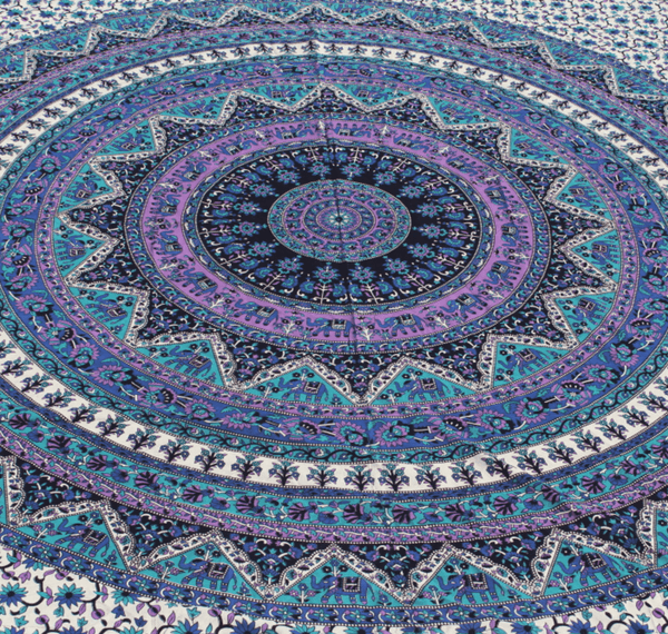 Blue And Purple Multi Color Mandala Tapestry