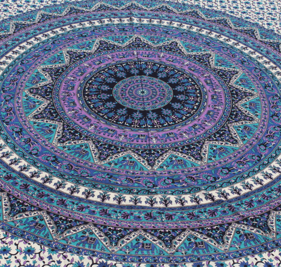 blue and purple multi color mandala tapestry yoga tapestries
