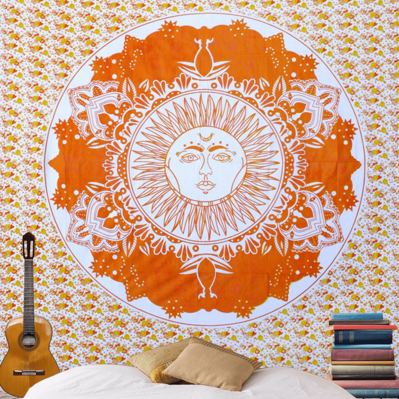 Orange Sun Mandala Wall Tapestry