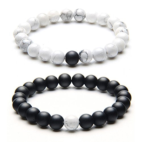Black and White Lava Rock Stone Bracelet