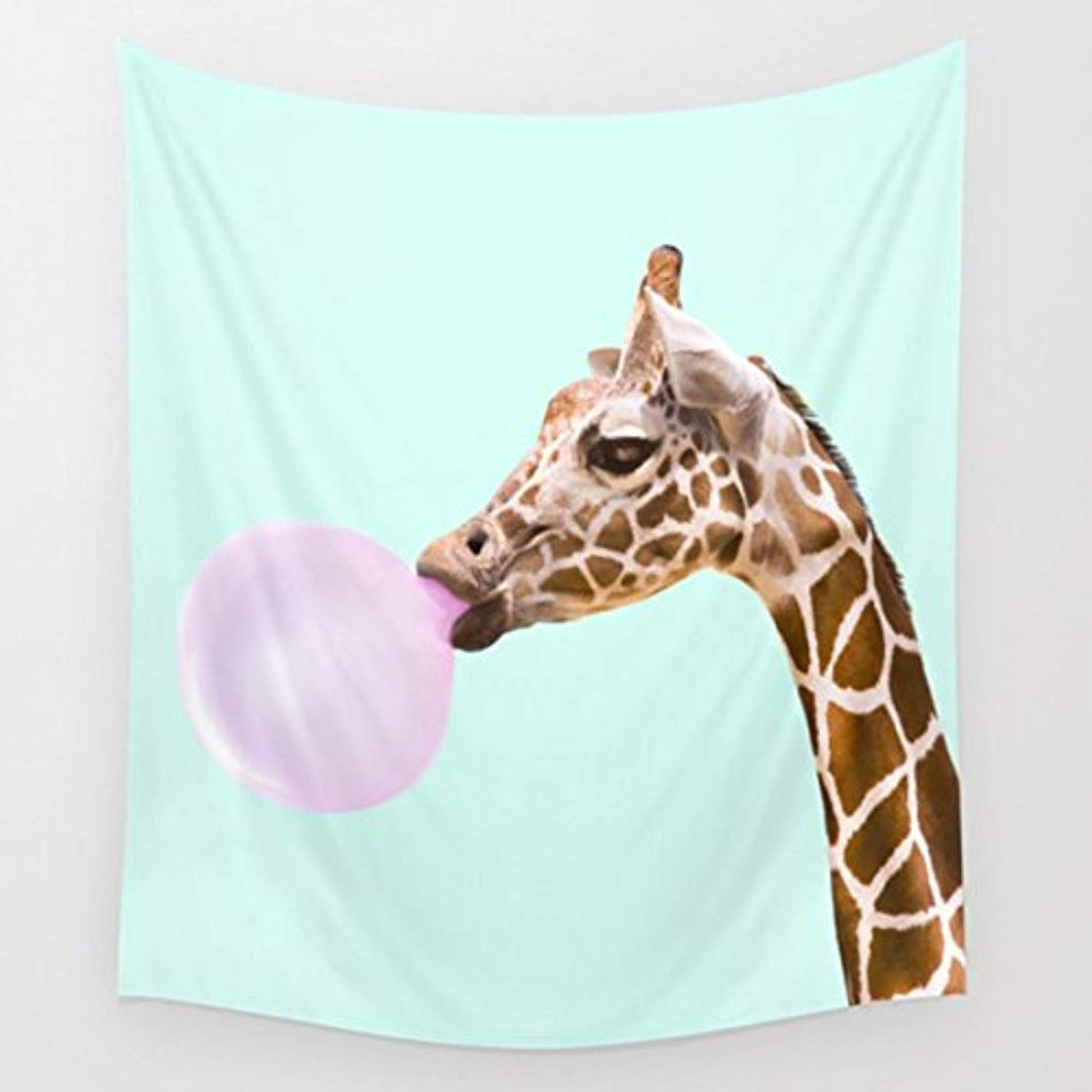 Giraffe Chewing Bubble Gum Décor Tapestry