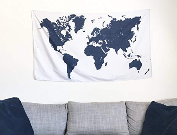 Navy Blue World Map Décor Tapestry