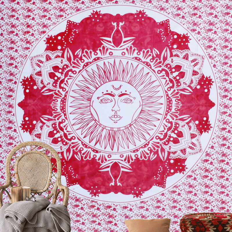 Red Sun Mandala Tapestry