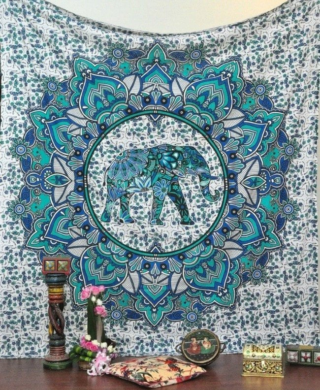Sea Green Elephant Mandala Tapestry