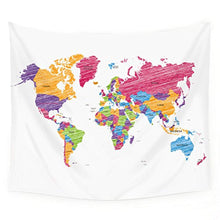 Colourful World Map Décor Tapestry