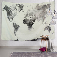 Black, White And Grey World Map Tapestry