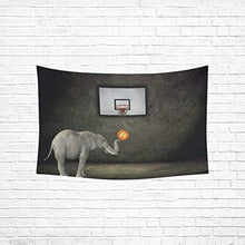 Elephant Playing Basketball Tapestry