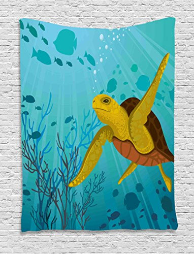 Pretty Green And Blue Artistic Turtle Tapestry