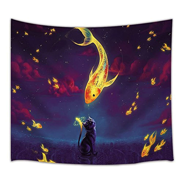 Fish Yin Yang Décor Tapestry