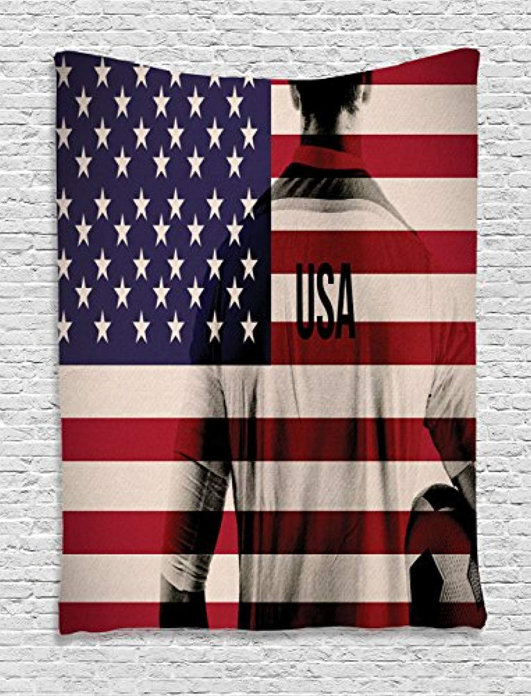 American Flag Soccer Décor Tapestry