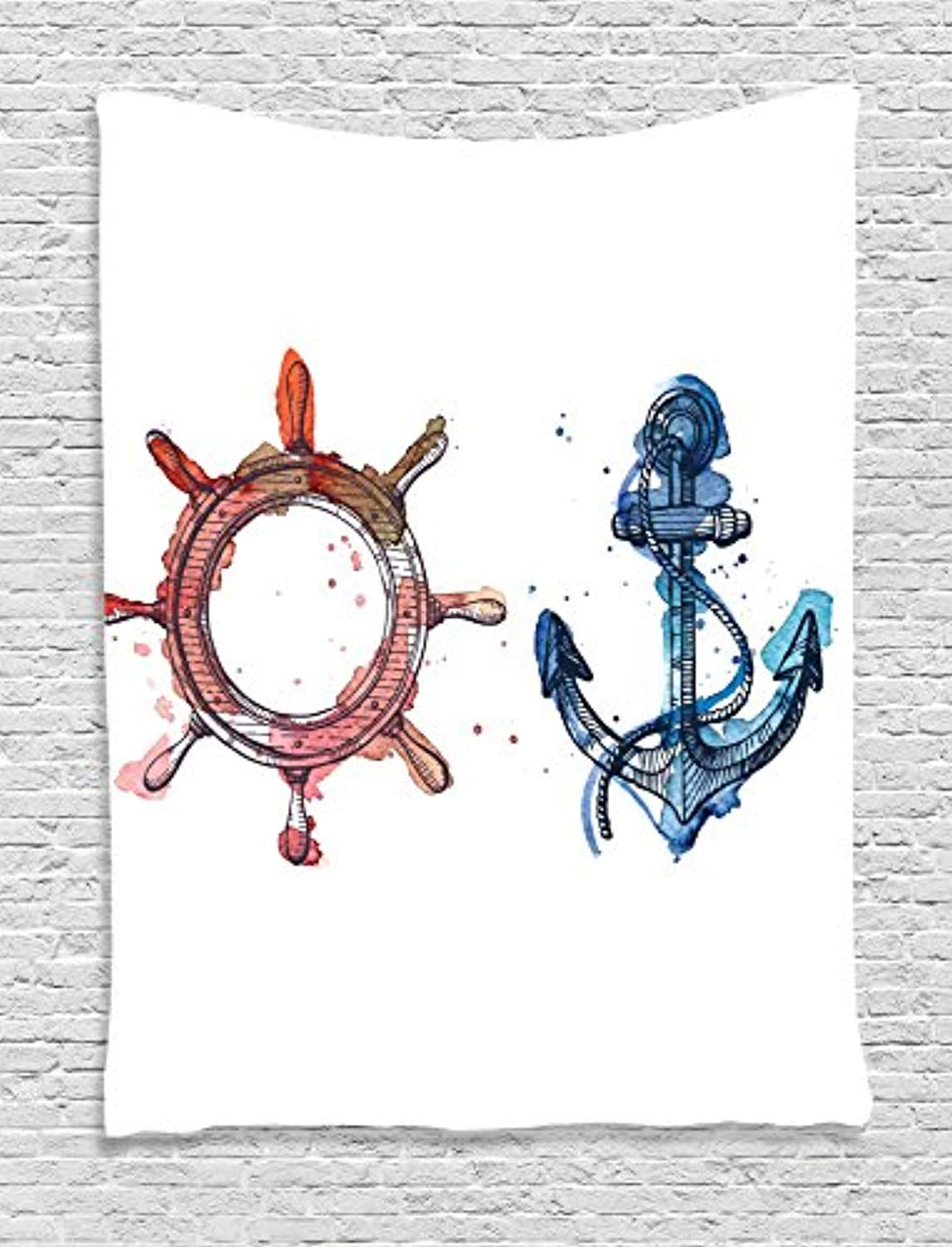 Anchor And Ship Wheel Décor Tapestry