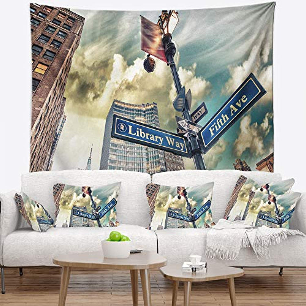 'Library Way and 5th Avenue Street Signs' Modern Cityscape Tapestry