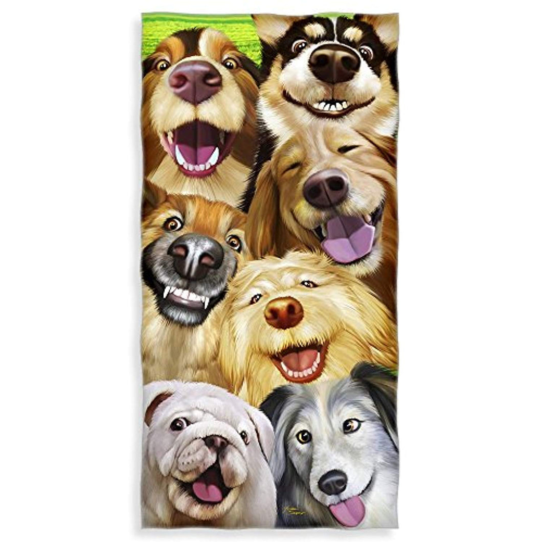 Dogs Selfie Cotton Beach Towel