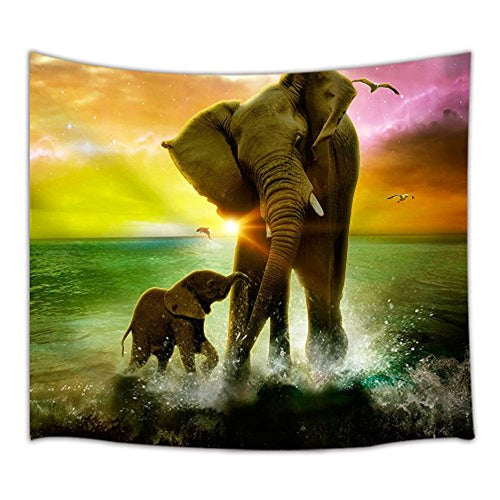 Mother And Baby Elephant Décor Tapestry
