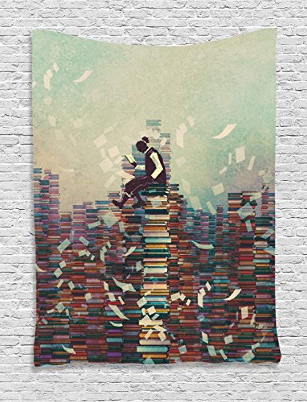 Man Sitting On A Pile Of Books Décor Tapestry