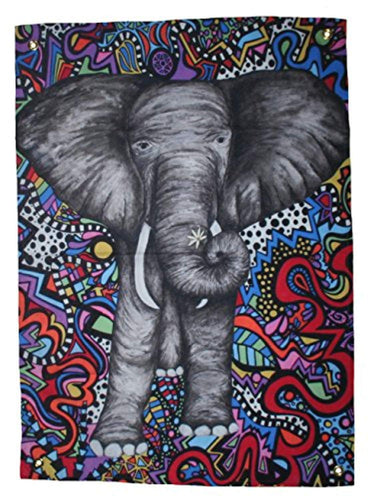 Psychedelic Elephant Colourful Doodle Tapestry
