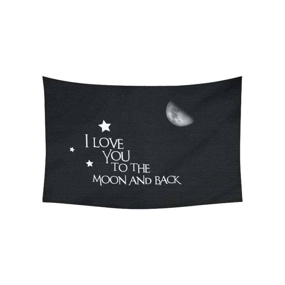ADEDIY Fashion Custom Tapestry I Love You to the Moon and Back Cotton Linen Wall Hanging Tapestry 60x40 IN Home Decor Gallery Art