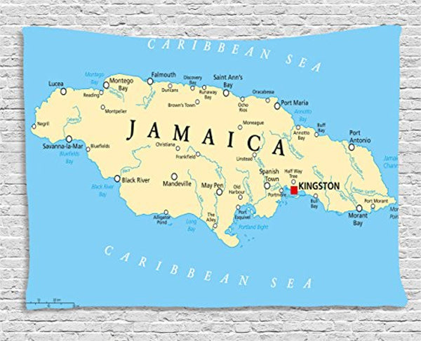 Ambesonne Jamaican Tapestry, Map of Jamaica Kingston Caribbean Sea Important Locations in Country, Wall Hanging for Bedroom Living Room Dorm, 60 W X 40 L Inches, Pale Blue Beige Black