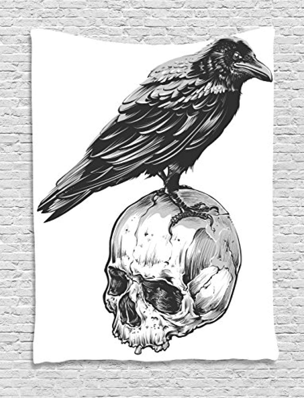 Crow And Skull Décor Tapestry