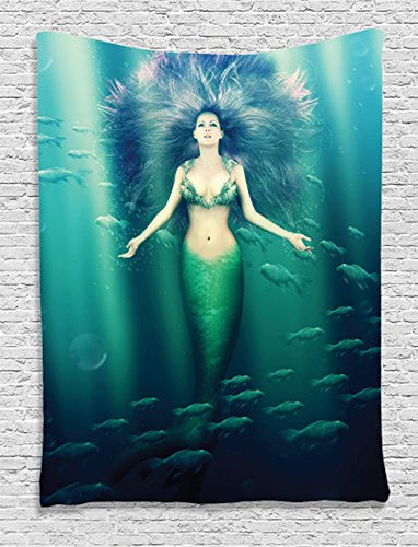Stunning Underwater Mermaid Tapestry