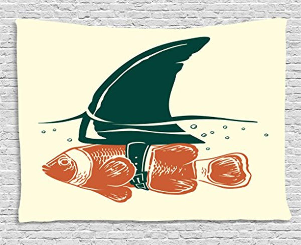 Small Fish With Shark Fin Décor Tapestry