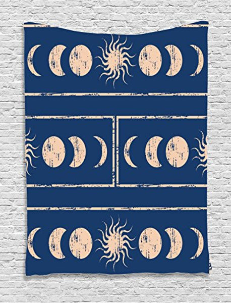 Ambesonne Sacred Geometry Tapestry, Grungy Display Ethnic Design of Planetary Sun Moon Phases of Mystery, Wall Hanging for Bedroom Living Room Dorm, 60 W X 80 L Inches, Violet Blue Beige