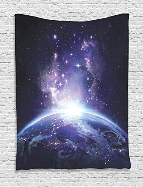 Ambesonne Outer Space Decor Collection, Earth Night View from Space Starry Sunrise Sunlights Rays from Horizon Picture, Bedroom Living Room Dorm Wall Hanging Tapestry, Midnight Blue