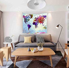 Colourful Water Colour Style World Map Tapestry