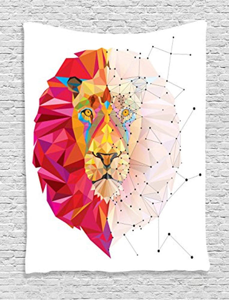 Geometric Lion Head Décor Tapestry