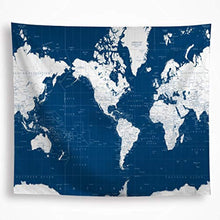 Blue And White World Map Tapestry