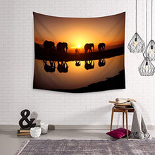 Elephants Walking Into The Sunset Décor Tapestry