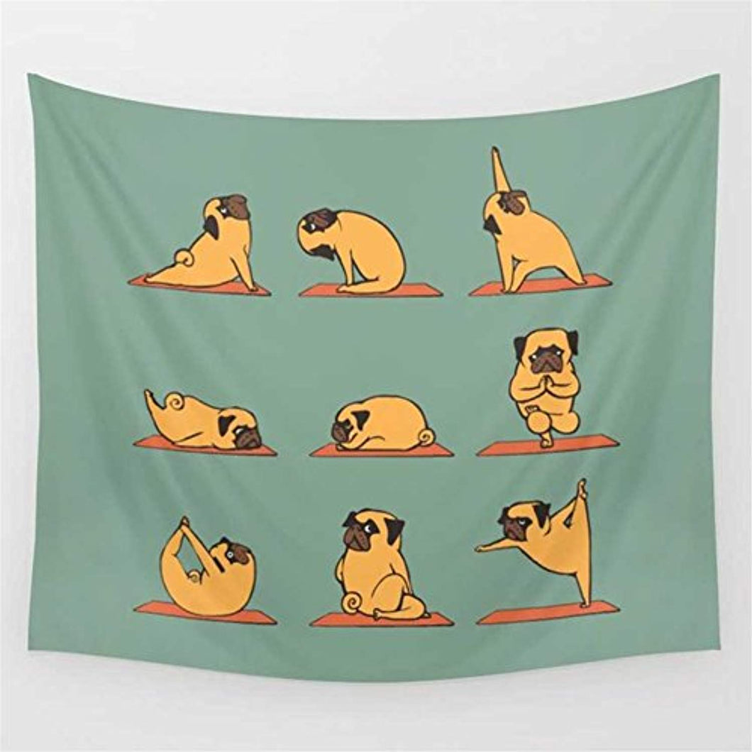 Dog Doing Funny Yoga Tapestry