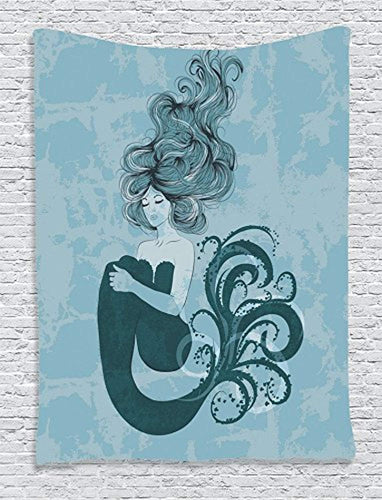 Pretty Mermaid And Sea Life Tapestry