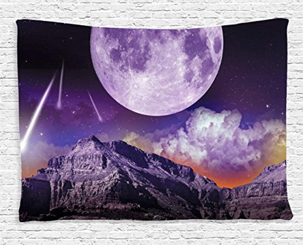 Woman And Dog In The Moonlight Décor Tapestry