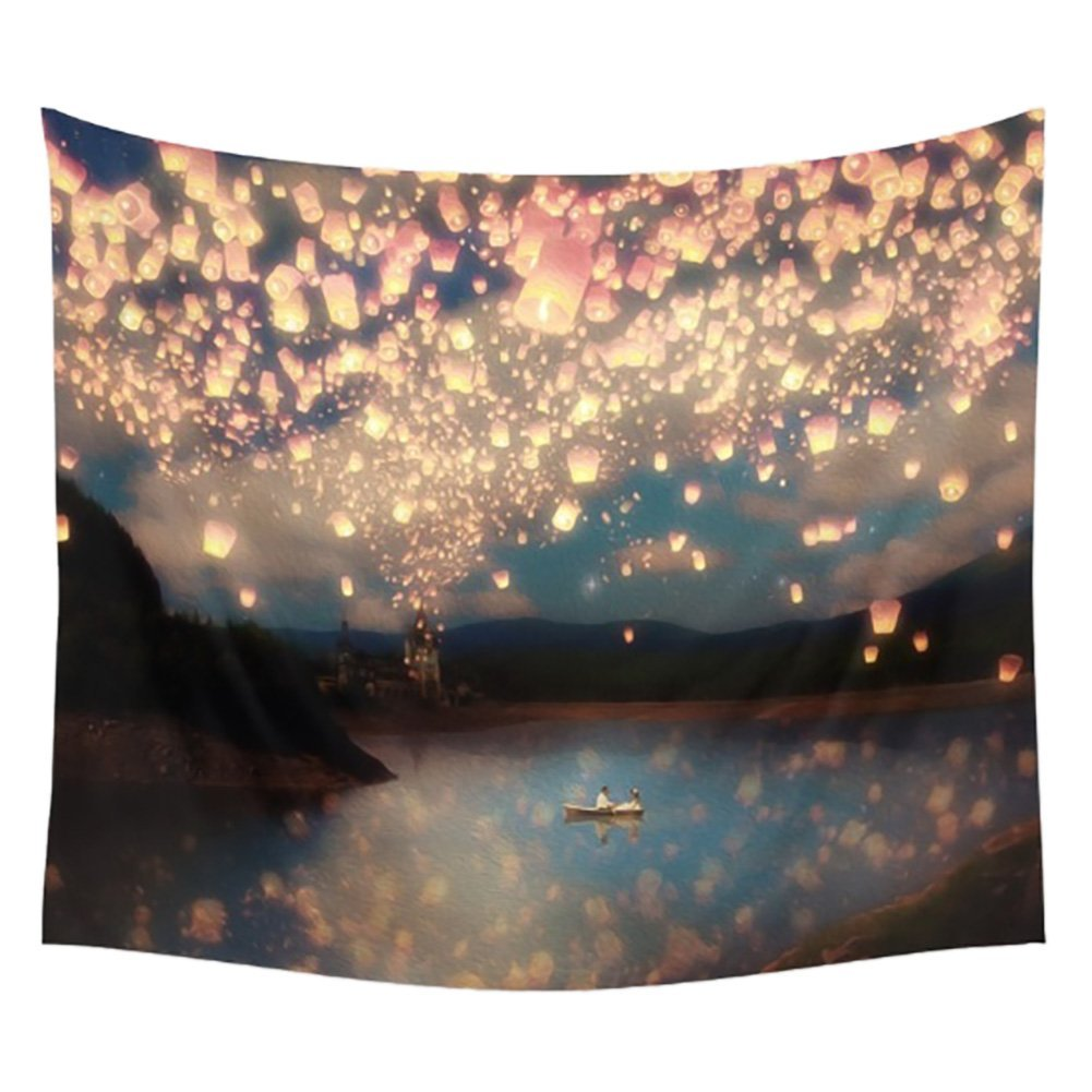Flying Lantern Lights Tapestry