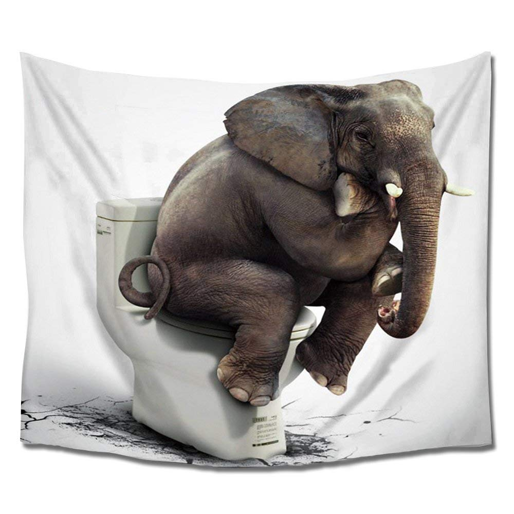 Funny Elephant Sitting On Pot Tapesty